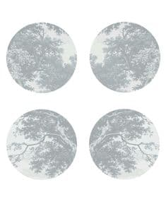 Trees Two Silver tablemats and coasters